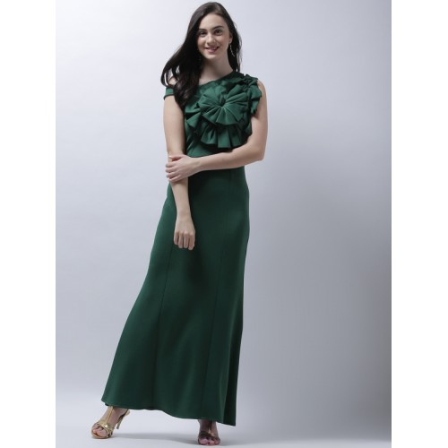Athena Women Green Solid Fit and Flare Dress