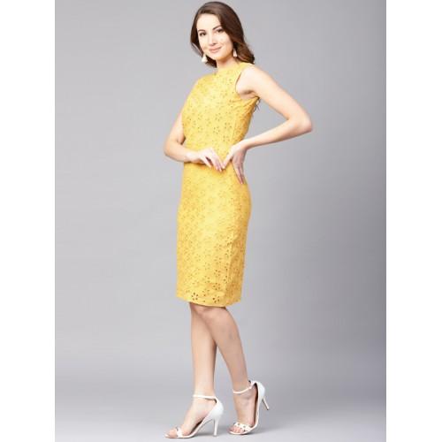 Athena Yellow Embroidered  Sheath Dress