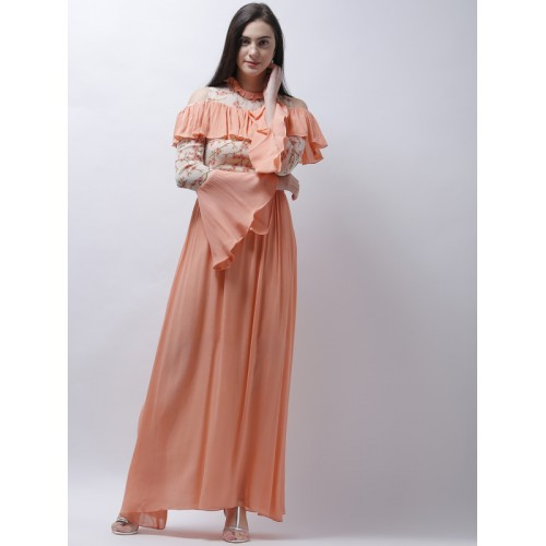 d9588a729a ... Athena Women Peach-Coloured Printed Cold-Shoulder Maxi Dress ...