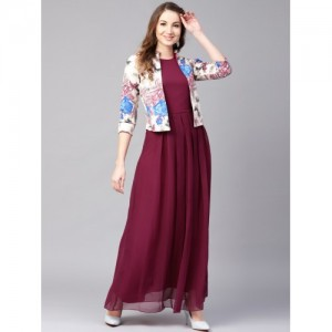Athena Maroon Georgette Round Neck Maxi Dress
