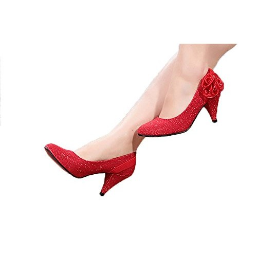 THE LONDON STORE New 2018 Women Wedding Shoes Red Bottoms Low Heel Pump Sexy Woman Pumps Ladies Pointed Toe Bridal Shoes flower from LONDON