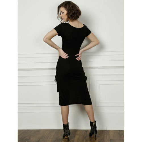 All About You Black Solid Shift Dress
