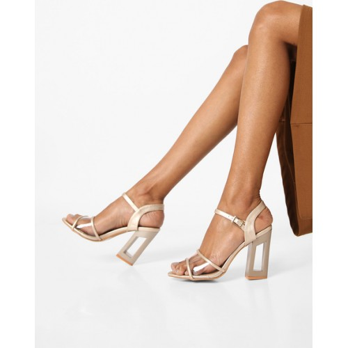 7093d6bb4c5 Buy AJIO Chunky Heeled Sandals with Buckle Closure online
