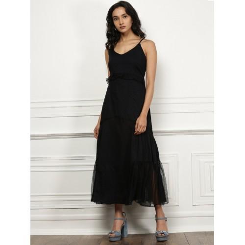 all about you from Deepika Padukone Women Navy Self Design Maxi Dress