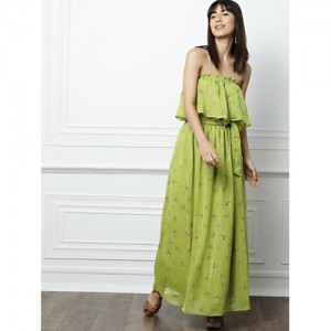 all about you Green Printed Off-Shoulder Maxi Dress