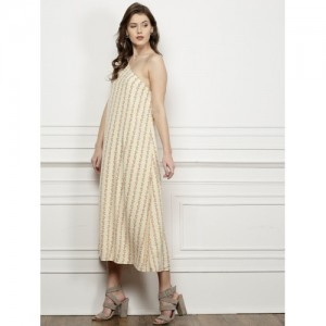 all about you from Deepika Padukone  Peach Printed A-Line Dress