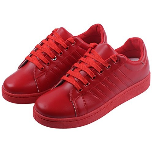 Irsoe CASSIEY Red Outdoor Shoes, Red Sneaker Shoes, Red Canvas Shoes, Red Sports Shoes, Red Superstar Shoes for Girls and Women Casuals (Red)