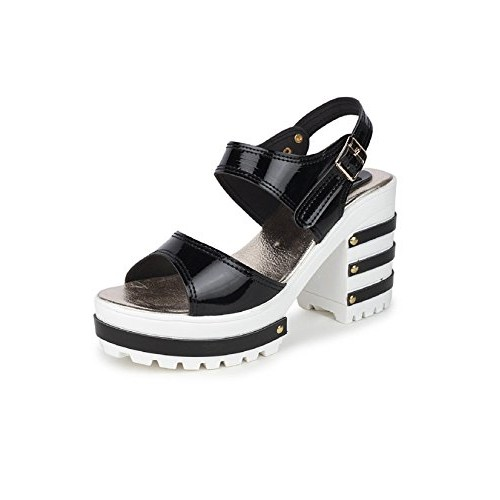 SHOFIEE Black Block Heel Wedge