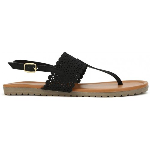 Bata Women Black Synthetic Flat Sandal