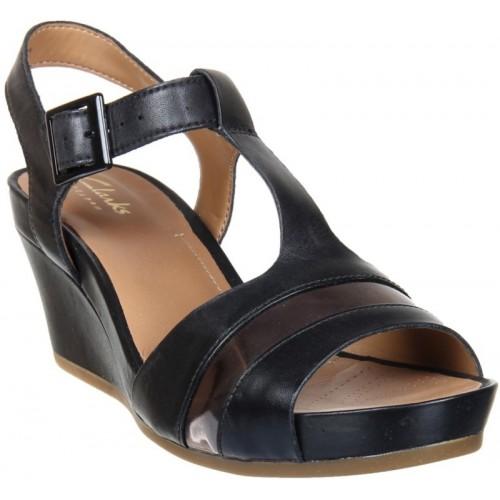 096e8ec3dc86 Buy Clarks Women Black Leather Wedges online