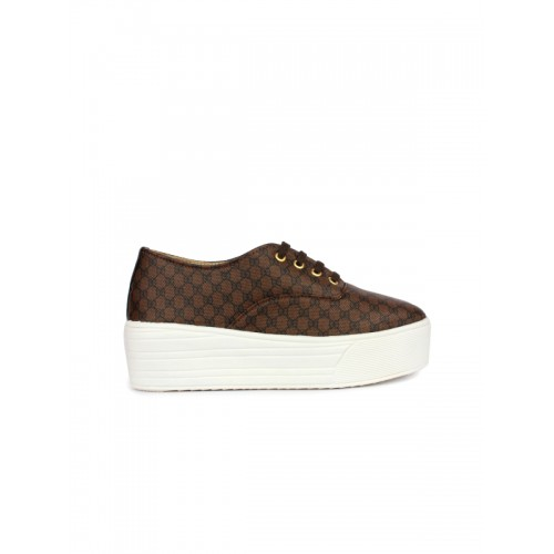Shoetopia Women Brown & Black Printed Flatform Sneakers