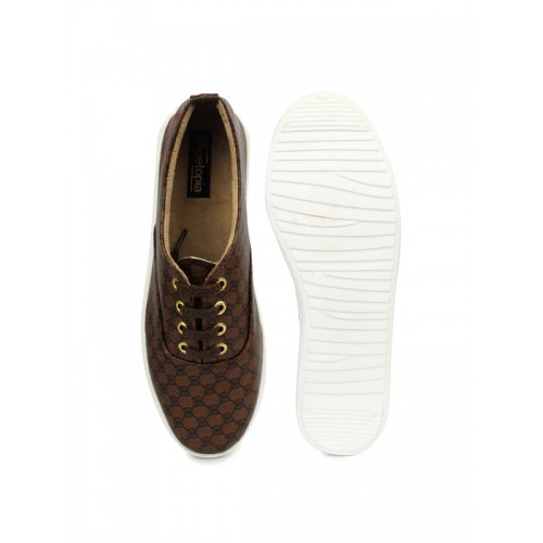 Shoetopia Women Brown & Black Printed Flatform Sneakers