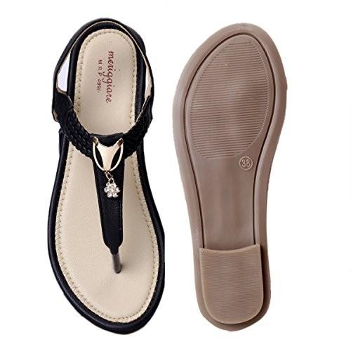 Meriggiare Women Black Backstrap PU Flat Sandals