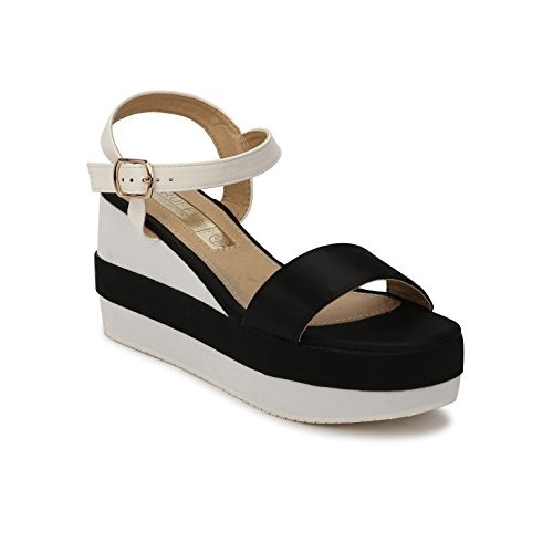 fba038d10cf4c Home · Women · FootWear · Sandals. TRUFFLE COLLECTION White and Black Ankle  Strap Wedges  TRUFFLE COLLECTION White and Black Ankle Strap Wedges ...