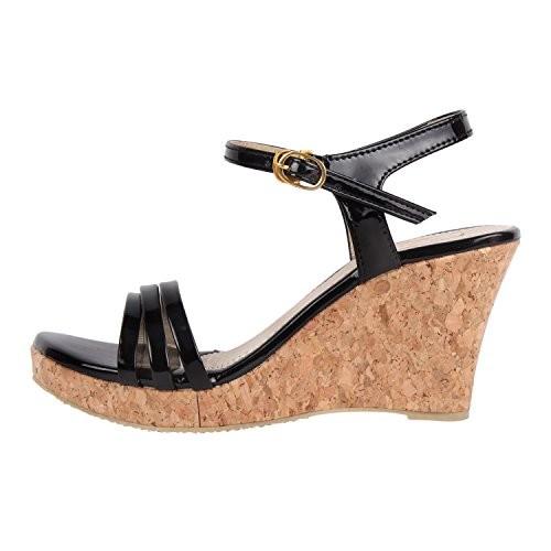 SHOFIEE Women's Stylish Leather & Cork Sole,Trendy Casual Wedges Heels