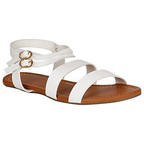 10ec093805ca6 ... Aroom Women Bohemian Glitter Summer Flat Sandals T Strap Open Toe Ankle  Strap Cage Cutout Flat ...