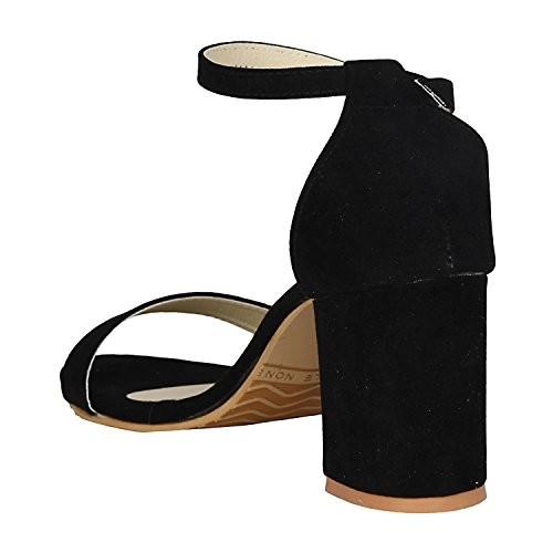 aab84d3858de Buy MISTO Women s Black Suede Leather Sandals online