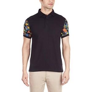 United Colors of Benetton Men's Black Cotton Polo