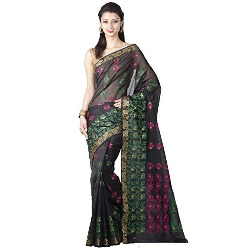 36ec65fe4b Buy Chandrakala Black Art Silk Banarasi Saree online | Looksgud.in