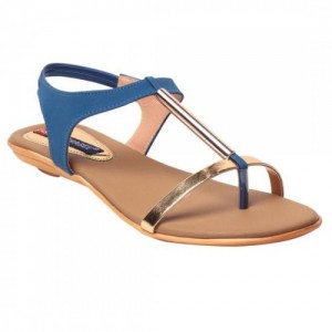 MSC Women's Blue Synthetic Leather Flats