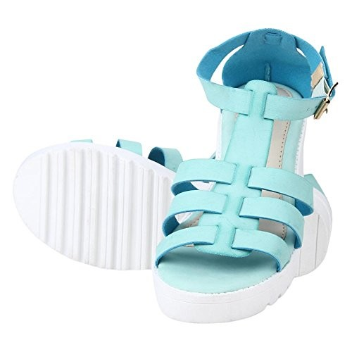 411e768b88454a ... ESTATOS Etashee Faux Leather Block Heel Platform White Sole Strappy Blue Teal  Gladiator Sandals for ...