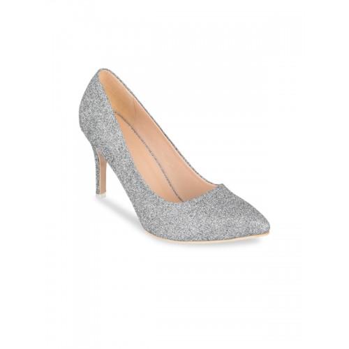 Sherrif Shoes Women Silver-Toned Woven Design Pumps