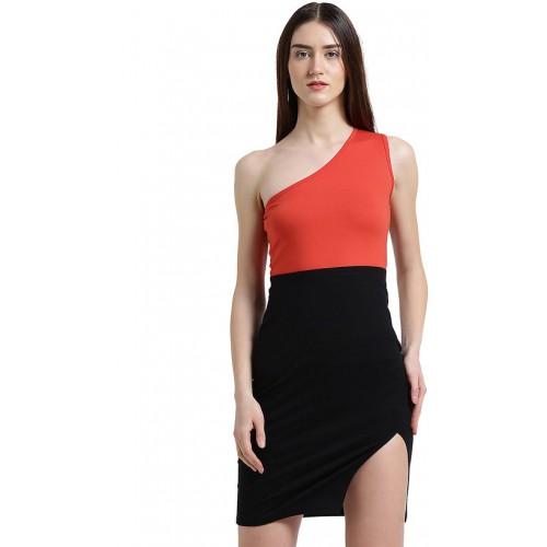433046cfe7 Buy Texco Women Red   black Color block Bodycon Dress online ...