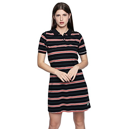 ... Cult Fiction Black Stripe Cotton Pique Fabric Polo Dress for Women s ... aede0e08df