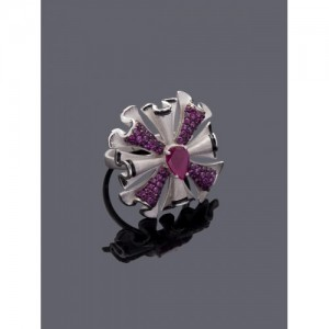 Studio Voylla Flamenco Silver-Toned & Pink Stone-Studded Adjustable Ring