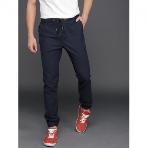 WROGN Men Navy Blue Regular Fit Solid Joggers