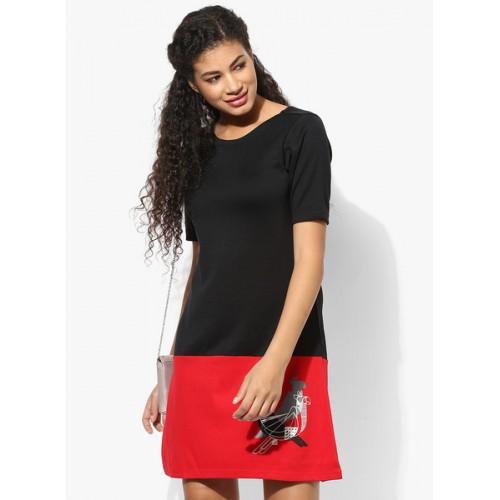 Global Desi Black Coloured Printed Shift Dress