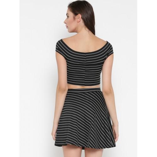 Veni Vidi Vici Women Black Striped Two-Piece Dress
