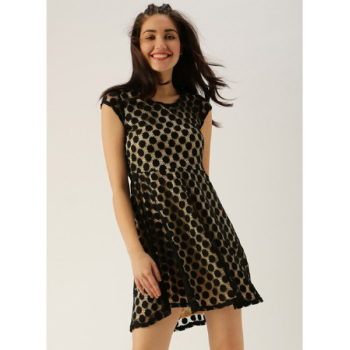 Dressberry Black Coloured Printed Skater Dress