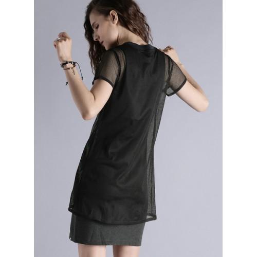 Kook N Keech Black Printed Shift Dress