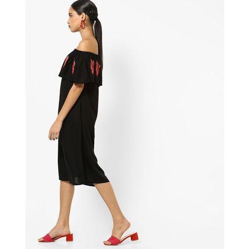 RARE Women Black Embroidered A-Line Bardot Dress