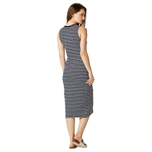 Miss Chase Black Cotton Striped Bodycon Dress