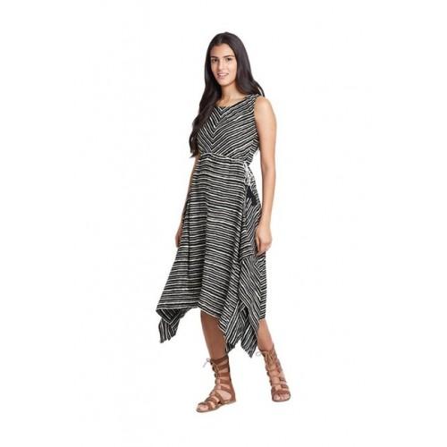 Global Desi Black Striped Midi Dress