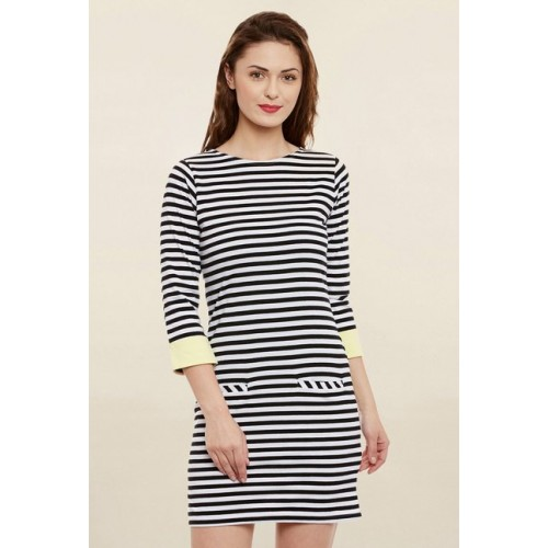 Miss Chase Women's Black & White Striped Shift Dress