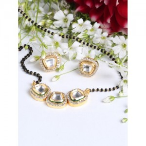 FIROZA Black Gold-Plated Kundan Stone-Studded Handcrafted Mangalsutra & Earrings Set