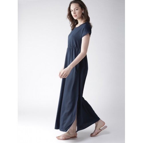 Mast & Harbour Navy Blue Solid Maxi Dress