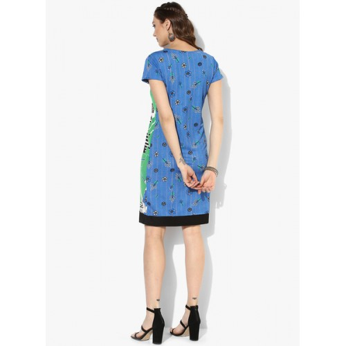 Global Desi Blue Coloured Printed Shift Dress