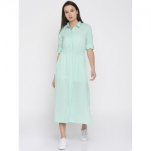 Mast & Harbour Blue Solid Shirt Dress