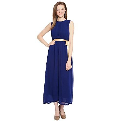 3290beed516800 ... ishin Heavy Georgette Navy Blue Solid Round Neck Maxi Length Straight  Hemline Sleevless Women's Western Wear ...