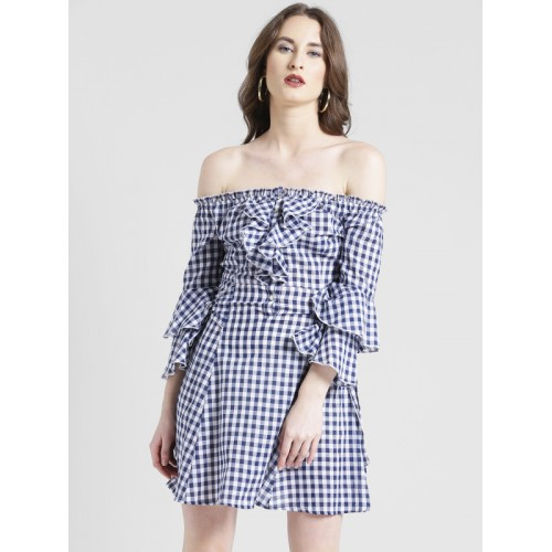 59017bd1d8f7 Buy TEXCO Blue Cotton Off Shoulder Ruffled Checks Women Dress online ...