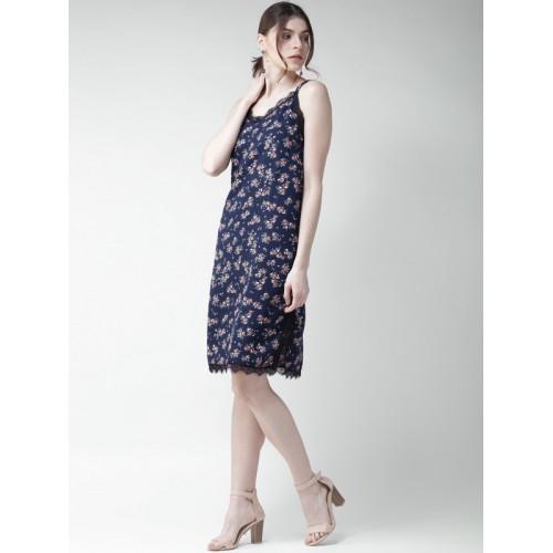 Mast & Harbour Navy Blue Printed Shift Dress