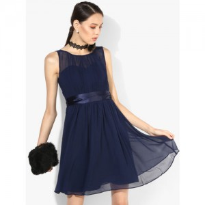 DOROTHY PERKINS Navy Blue Coloured Solid Skater Dress