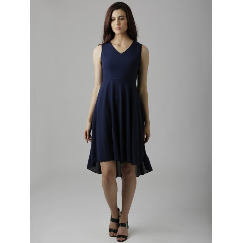 Miss Chase Blue Polyester Casual Regular Fit Dress