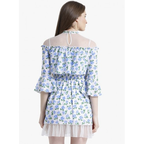 Texco Blue Printed Skater Dress