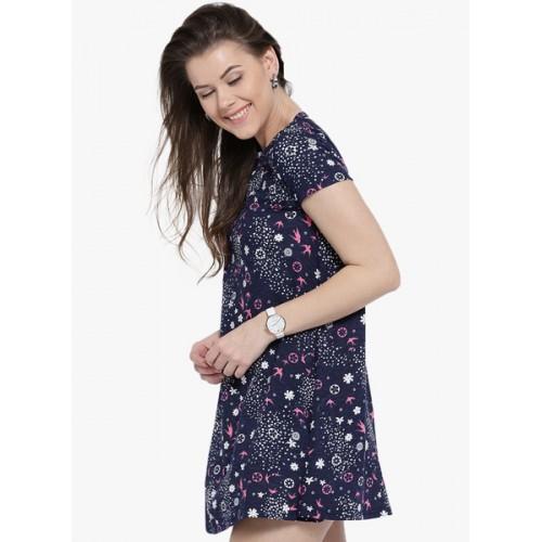 Sera Navy Blue Printed Shift Dress