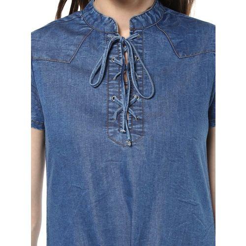 StyleStone Women Blue Denim Sheath Dress